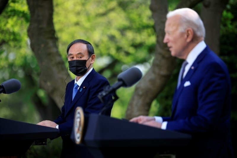 Japan's Prime Minister Yoshihide Suga and U.S. President Joe Biden hold a joint news conference in the Rose Garden at the White House in Washington, U.S., April 16, 2021. (Reuters Photo)