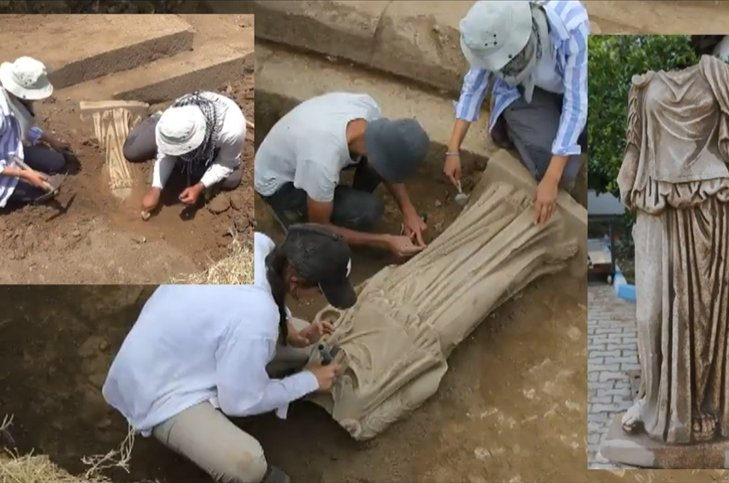 Ancient statue of woman unearthed in western Turkey's Metropolis