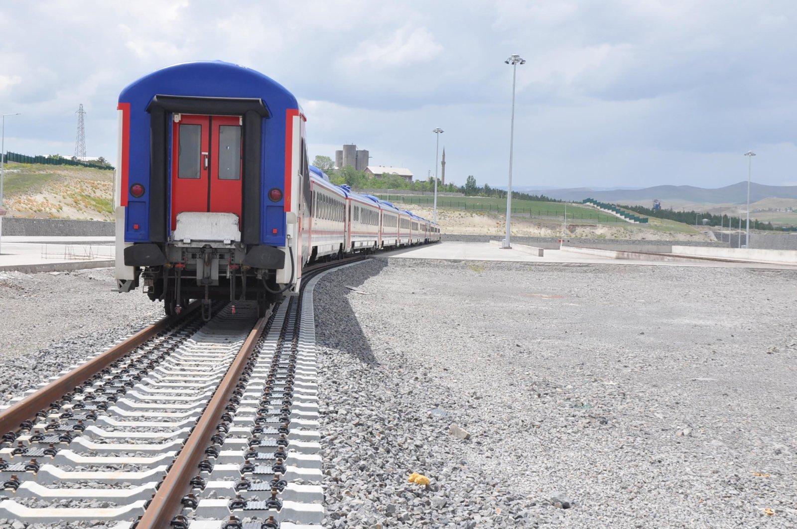 A train travels on the Baku-Tbilisi-Kars (BTK) railway line in Kars, eastern Turkey, June 13, 2021. (DHA Photo)