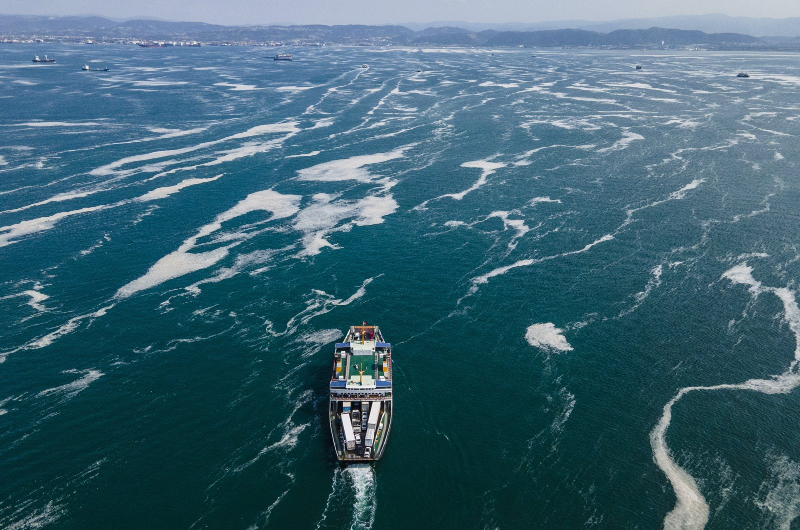 A ship sails through patches of sea snot near Kocaeli, east of Istanbul, Turkey, June 12, 2021. (AP Photo)