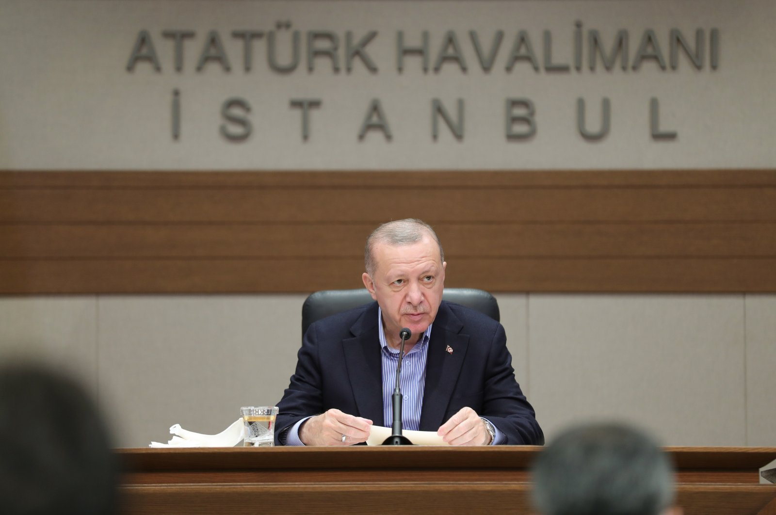 President Recep Tayyip Erdoğan speaks at a press conference before departing for the NATO summit in Brussels, Istanbul, Turkey, June 13, 2021. (AA Photo)