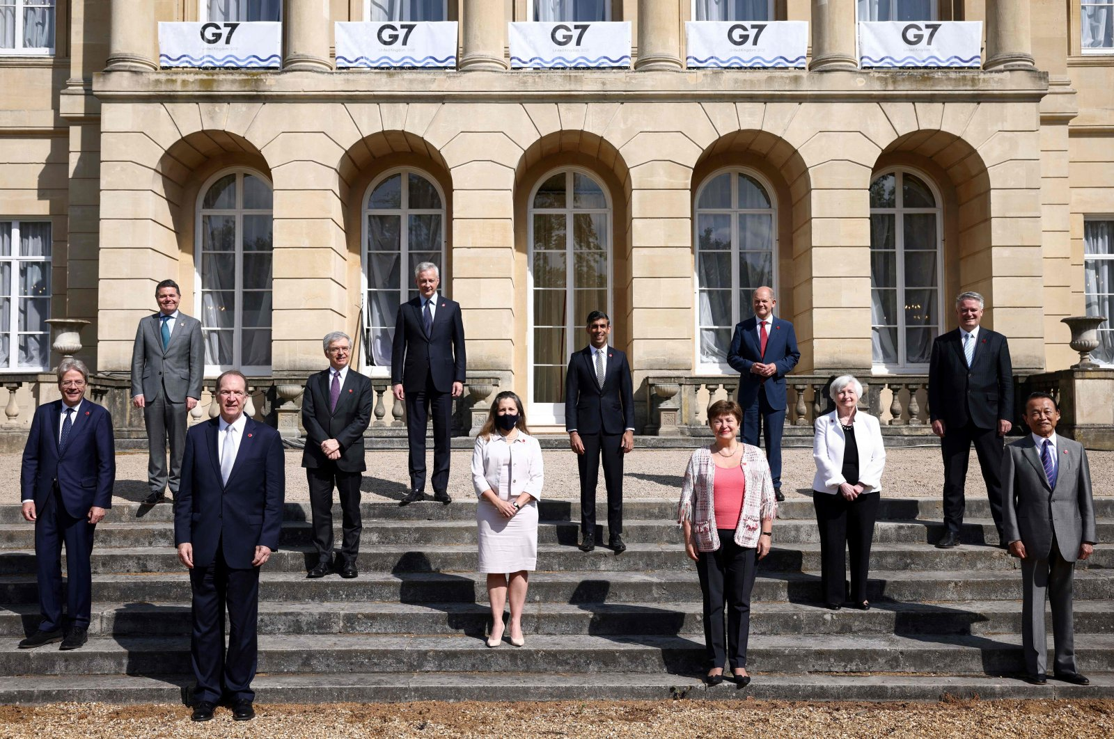 G-7 finance ministers pose for a photo on the second day of the G-7 Finance Ministers Meeting, at Lancaster House in London, U.K., June 5, 2021. (AFP Photo)