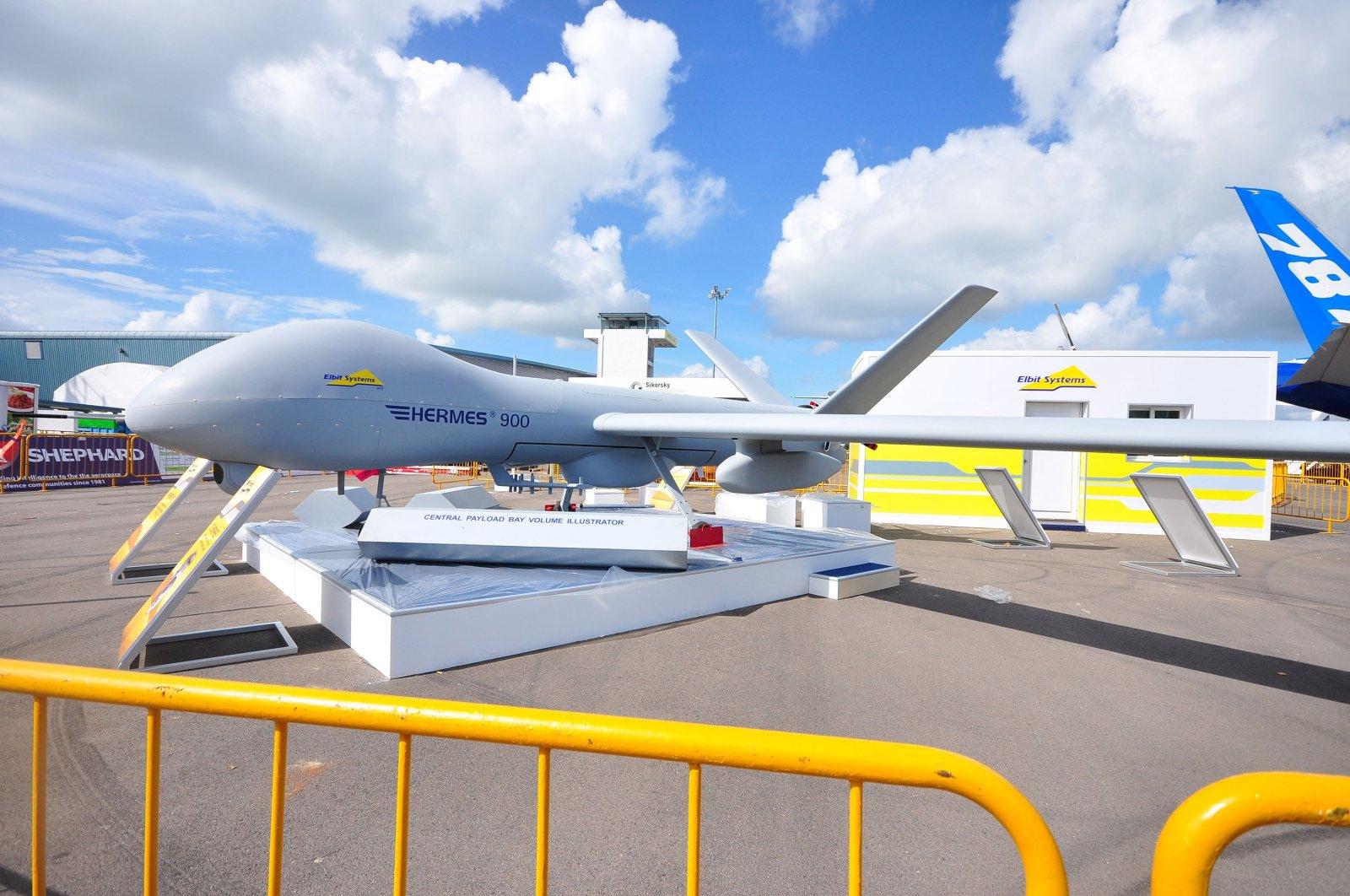 Elbit Sytems showcasing their Hermes 900, a medium-altitude long-endurance UAV, at Singapore Airshow, Feb. 12, 2012. (Shutterstock Photo)