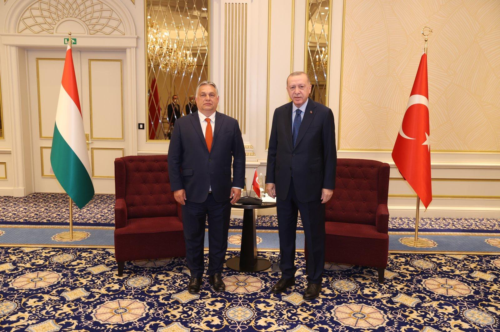 President Recep Tayyip Erdoğan (R) and Hungarian Prime Minister Viktor Orban meet in Brussels ahead of the NATO summit, Brussels, Belgium, June 13, 2021. (AA Photo)