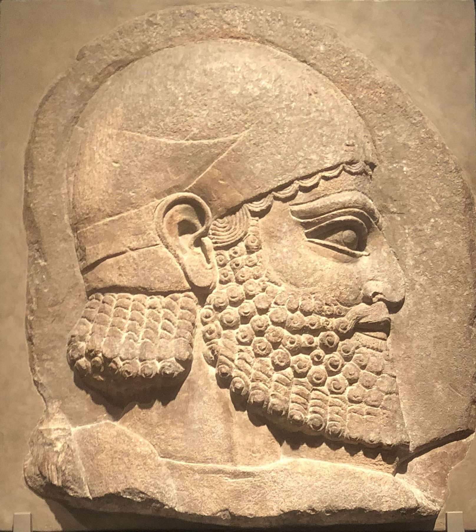 'Head of a Bearded Man,' Assyrian. 710-705 B.C., the Getty Villa, California, the U.S., May 13. (Photo by Matt Hanson)