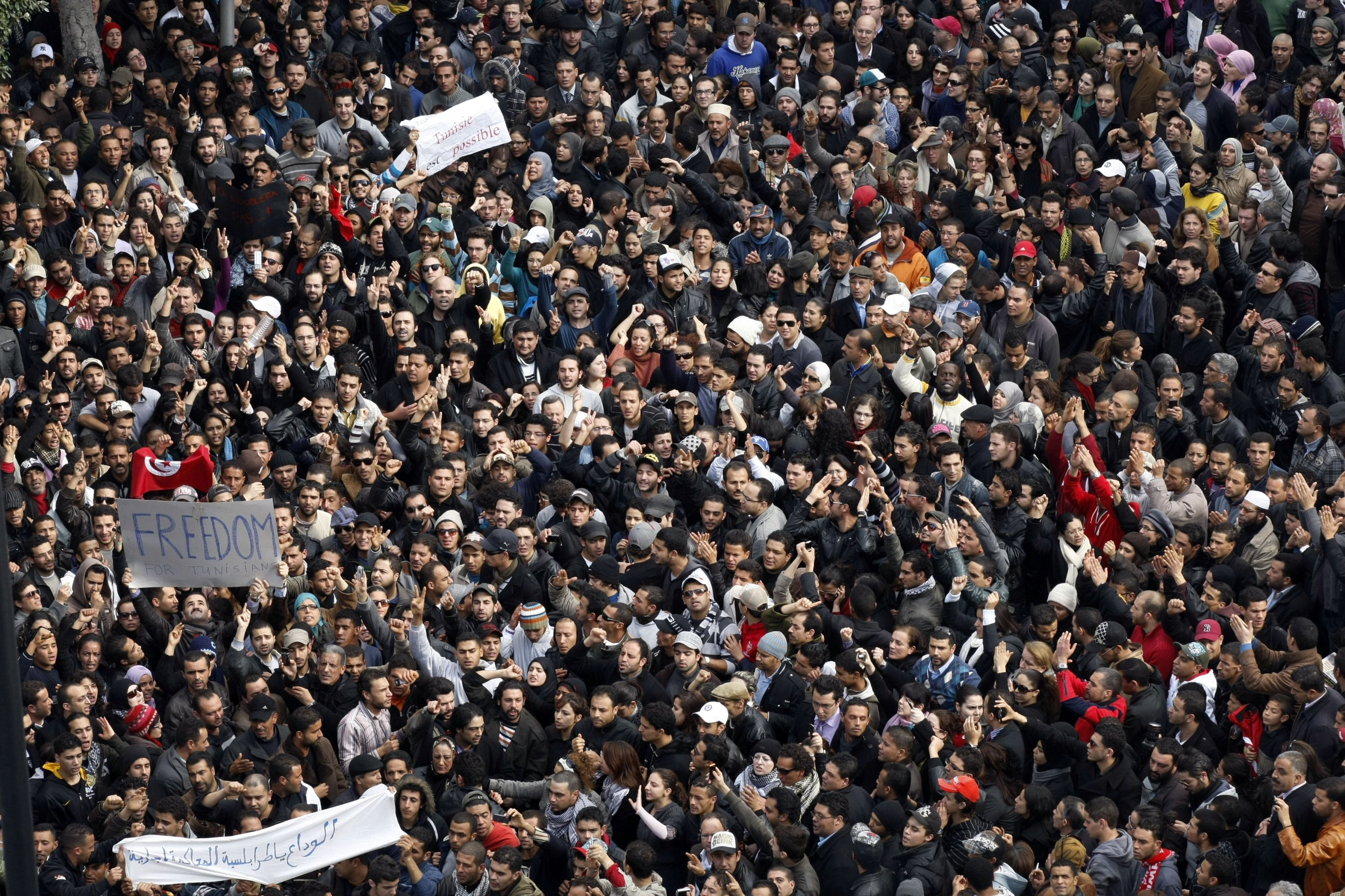 Protesters chant slogans against the government during a demonstration in Tunis, Tunisia, Jan. 14, 2011. (AP Photo)