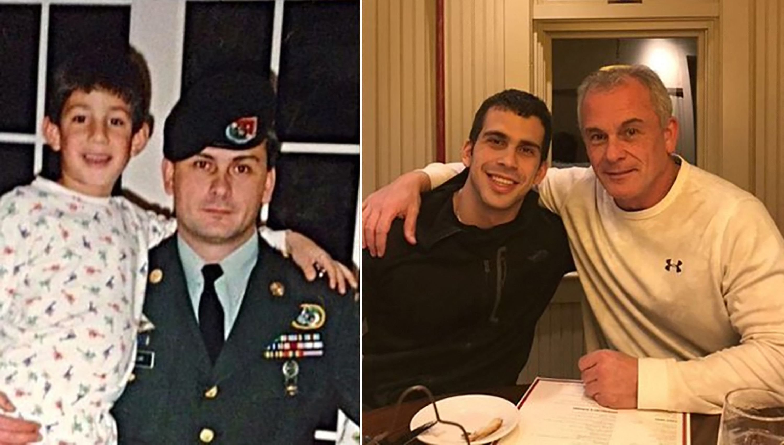 Peter Taylor (L in both images) and his father Michael Taylor, a former U.S. special forces member, pose together years apart, in an undated combination of photos released in March 2021. (Family handout courtesy of Rudy Michael Taylor in the U.S. / AFP)