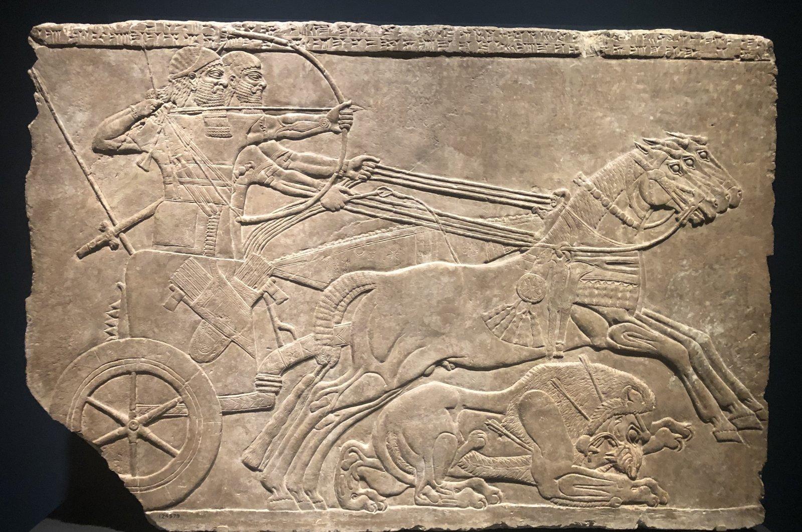 """Royal Lion Hunt,"" Assyrian, 875-860 B.C., the Getty Villa, California, the U.S., May 13. (Photo by Matt Hanson)"