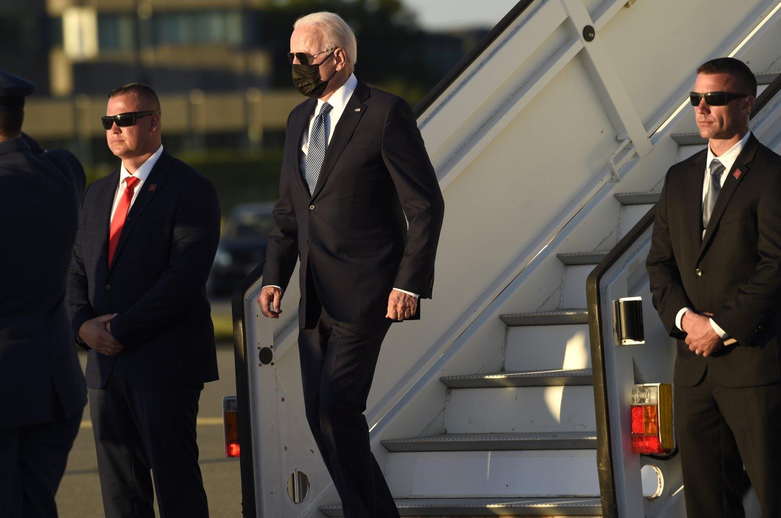 U.S. President Joe Biden arrives at Melsbroek Military Airport ahead of a NATO summit in Brussels, Belgium, June 13, 2021. (AP Photo)