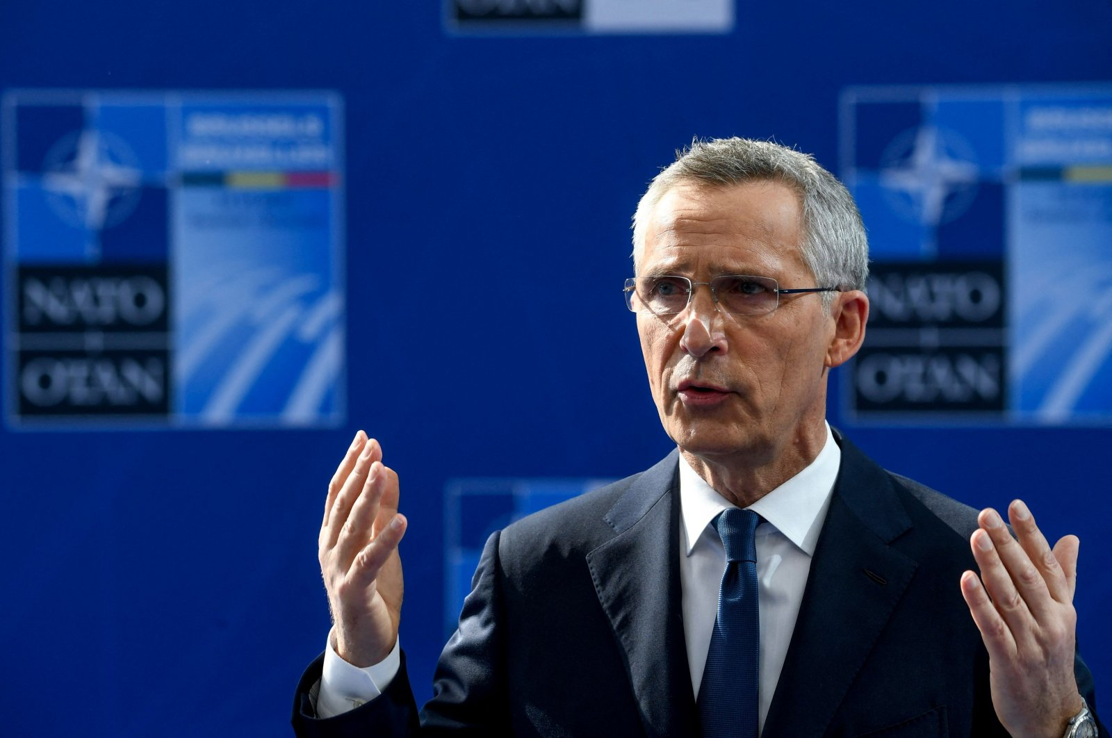 NATO Secretary-General Jens Stoltenberg speaks to the press upon his arrival to the NATO summit at the NATO headquarters in Brussels, Belgium, June 14, 2021. (AFP Photo)