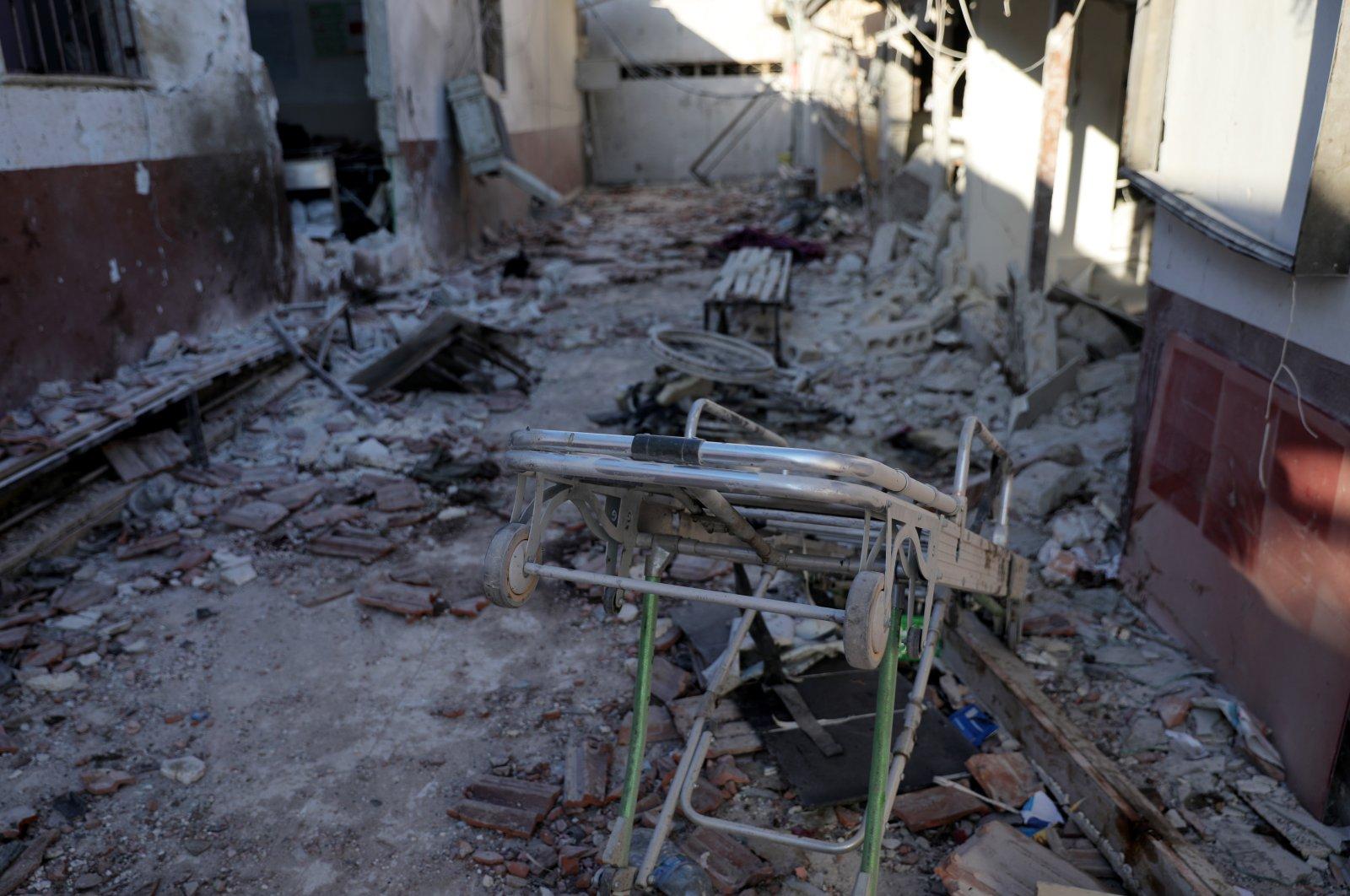 Destruction of Al-Shifa Hospital in the city of Afrin, northern Syria, 13 June 2021. (EPA Photo)