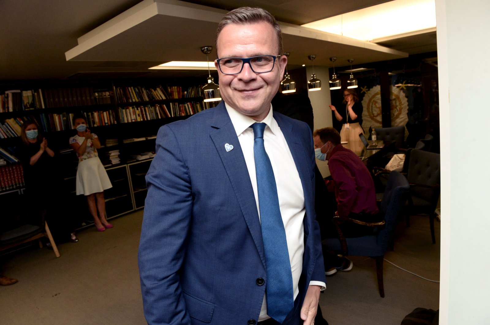 Chairperson of The National Coalition Party Petteri Orpo celebrates winning the municipal elections, Helsinki, Finland, June 13, 2021. (Reuters Photo)