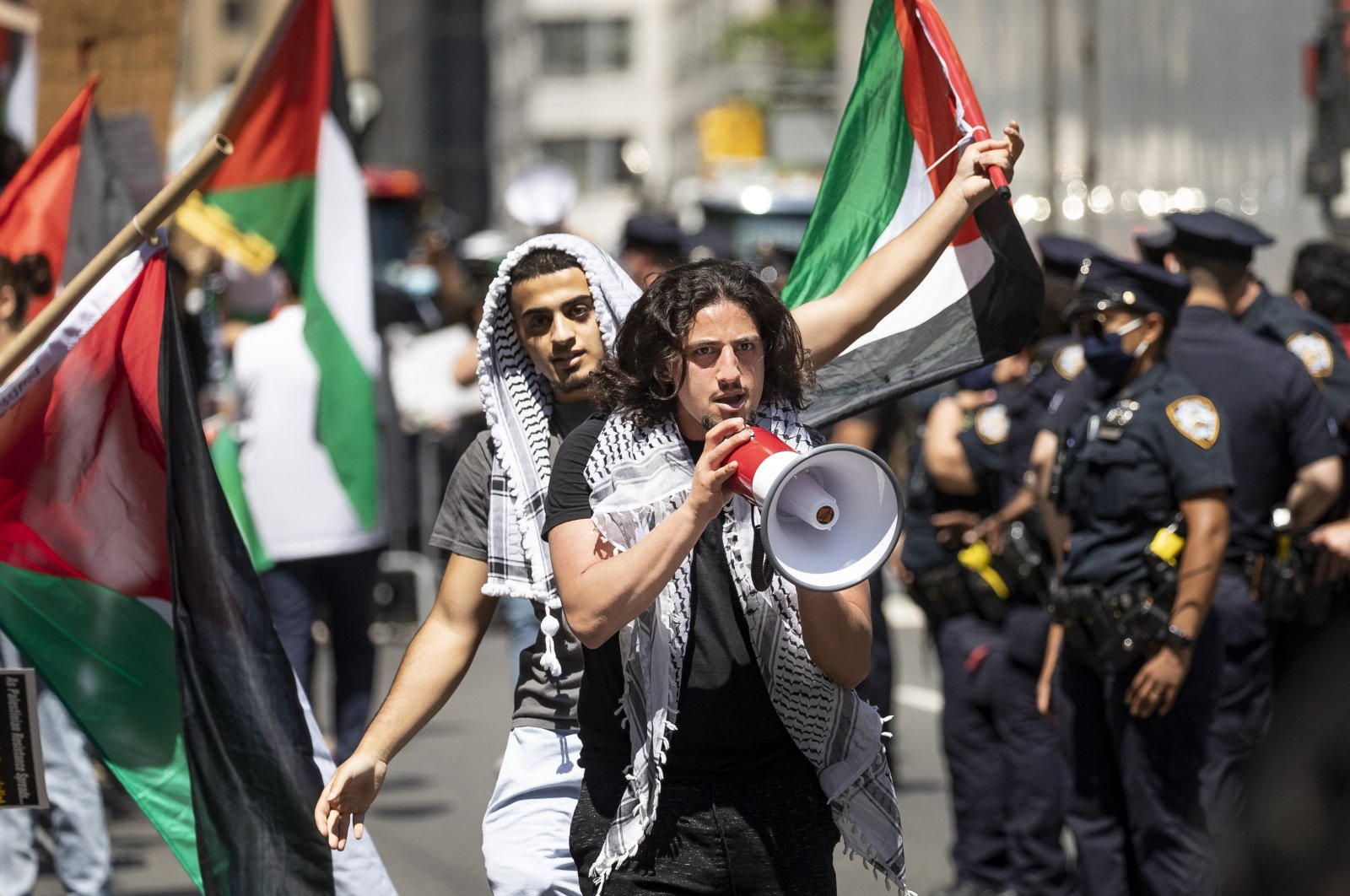 People attend a rally and march in support of Palestine near the Israeli Consulate in New York, U.S., May 18, 2021. (EPA-EFE Photo)