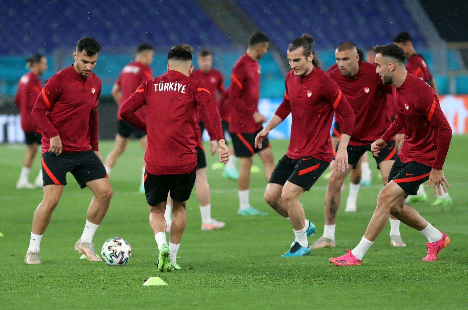 Turkish national football team players attend a training session at the Olympic Stadium, Rome, France, June 10, 2021. (IHA Photo)
