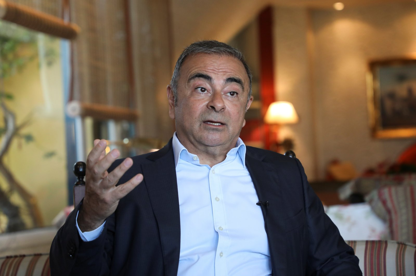 Former Nissan Chairman Carlos Ghosn talks during an interview in Beirut, Lebanon, June 14, 2021. (Reuters Photo)