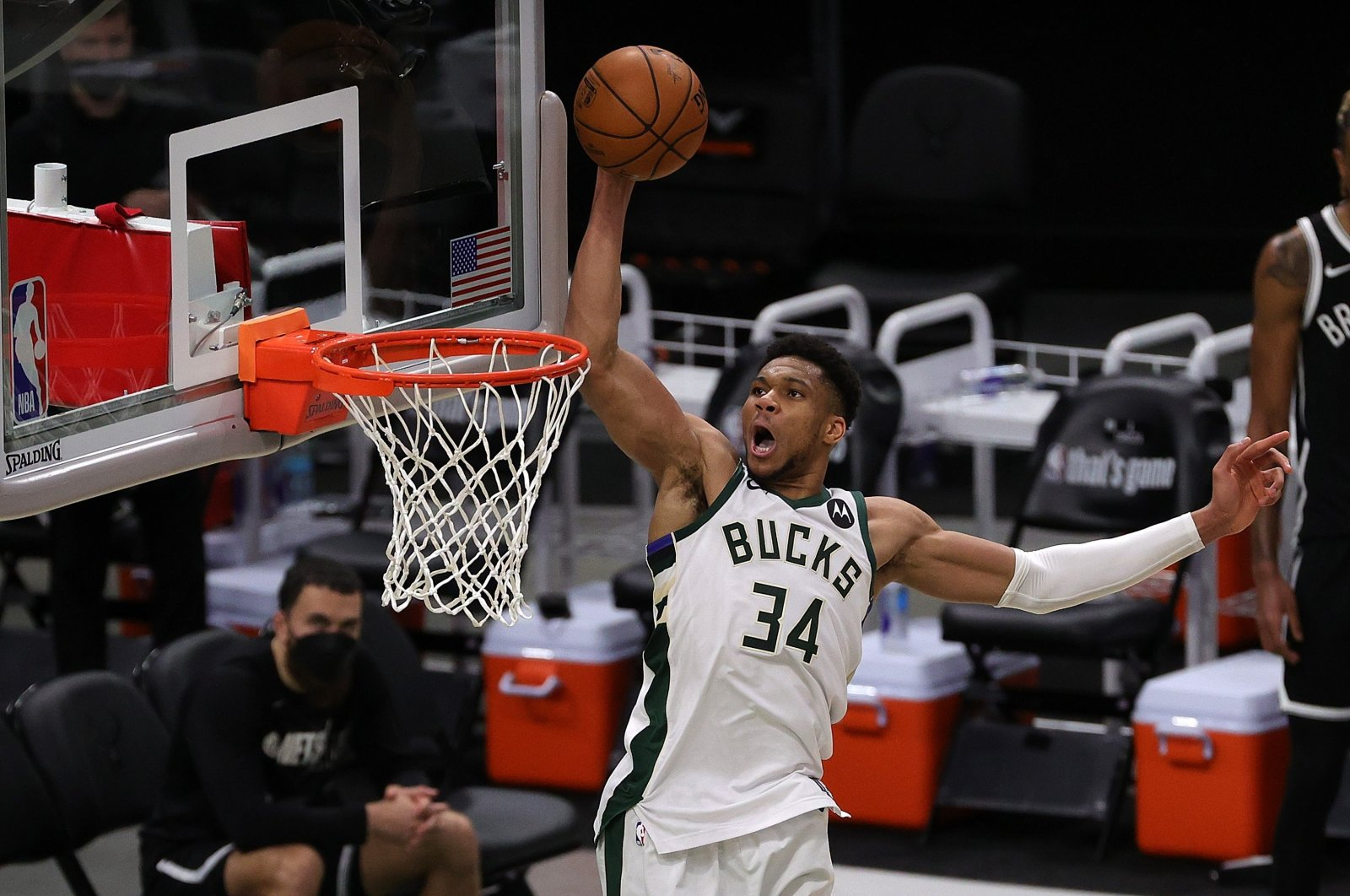Milwaukee Bucks' Giannis Antetokounmpo dunks against the Brooklyn Nets during the second half of Game 4 of the Eastern Conference second-round playoff series at the Fiserv Forum, Milwaukee, Wisconsin, U.S., June 13, 2021. (AFP Photo)