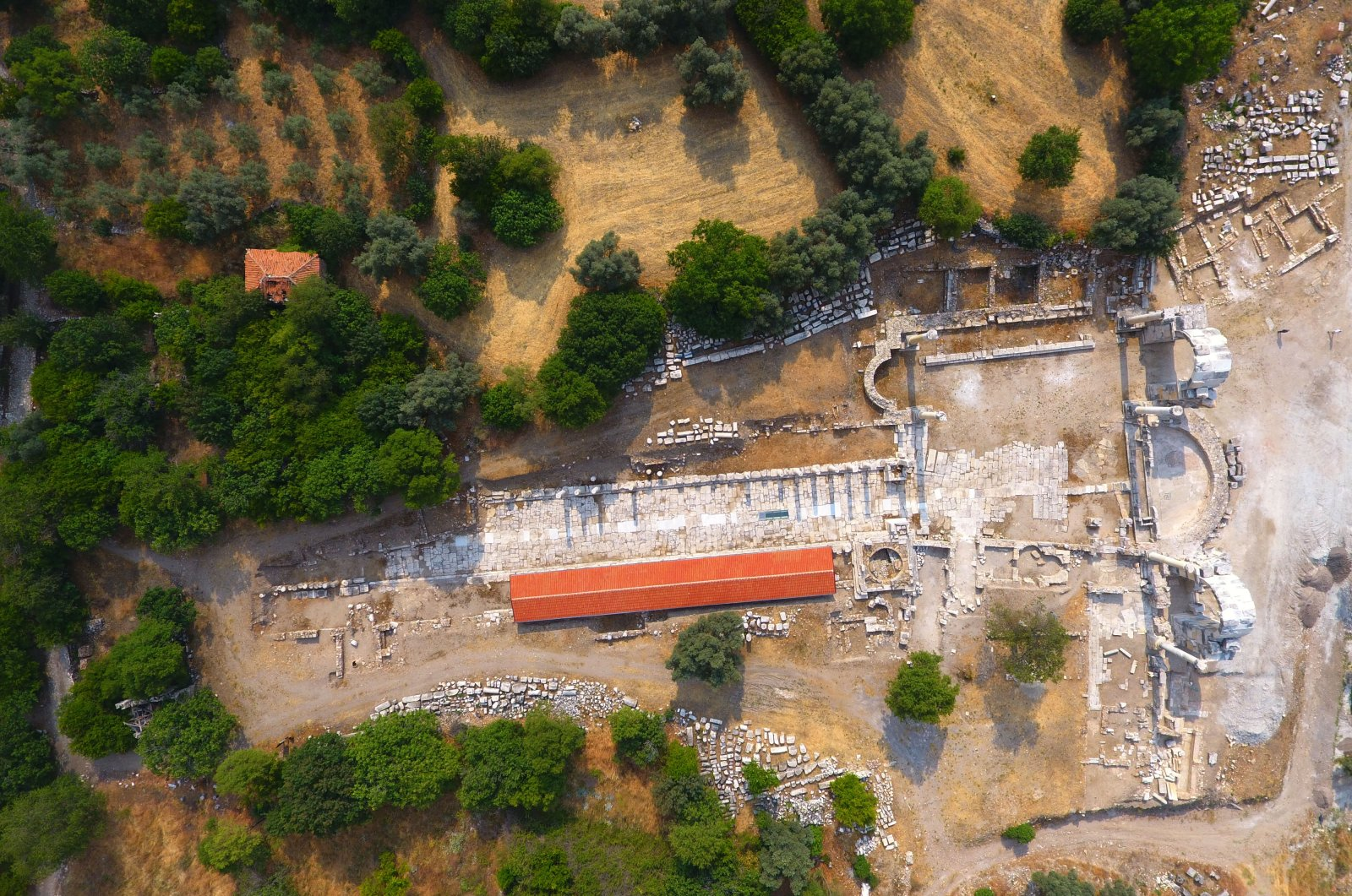 An aerial view shows the recently restorednorthern entrance to the ancient city ofStratonikeia in Muğla, Turkey, June 13, 2021. (AA Photo)