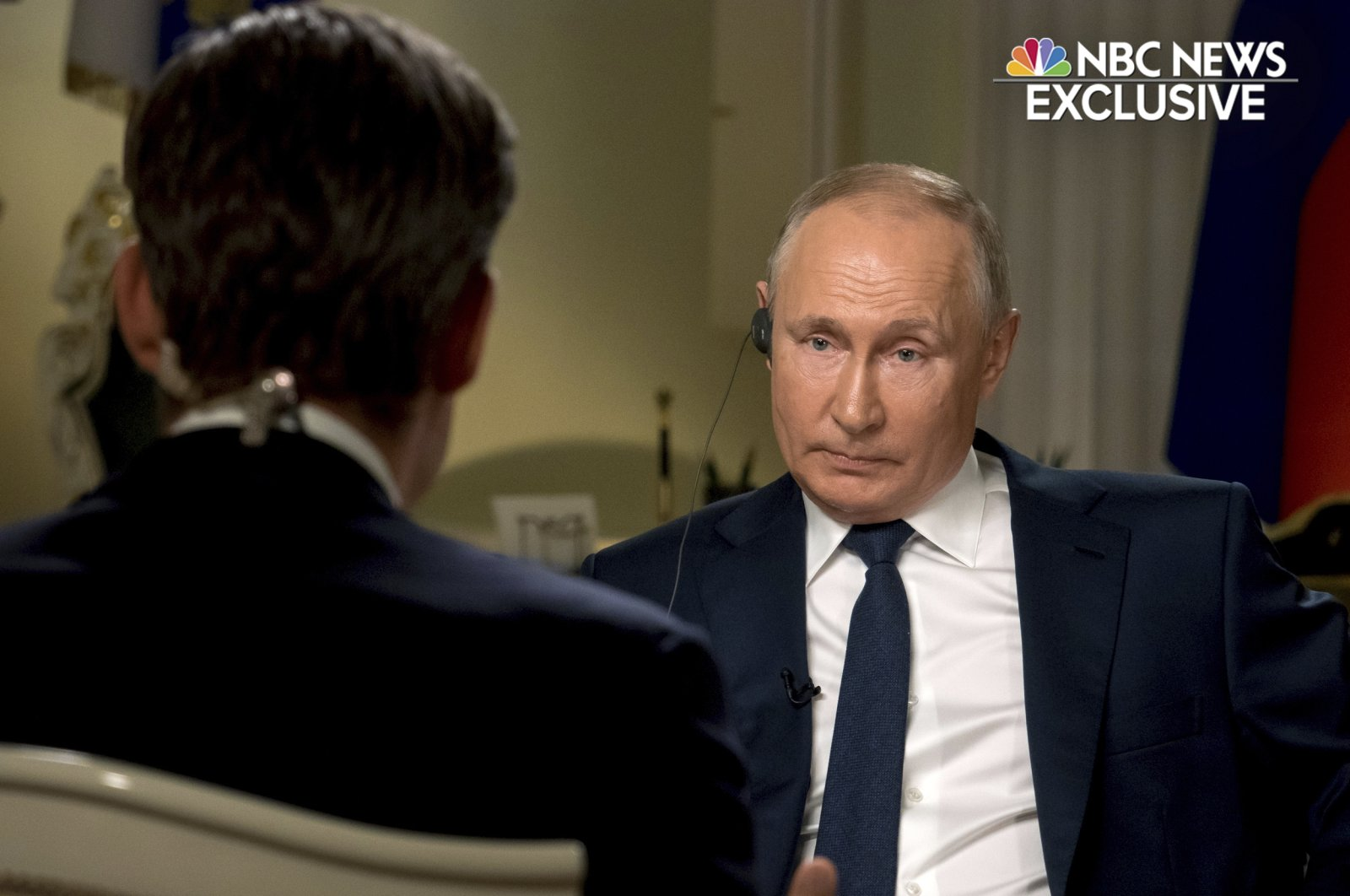 Keir Simmons (L) speaks with Russian President Vladimir Putin in an interview aired on June 14, 2021, two days before the Russian leader is to meet U.S. President Joe Biden in Geneva.  (NBC News via AP)