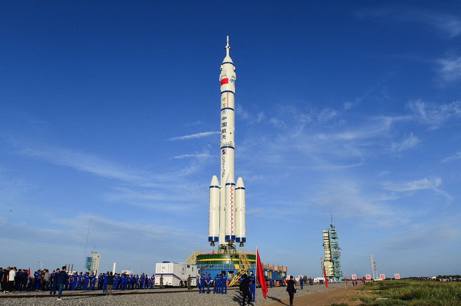 A Long March-2F carrier rocket, carrying the Shenzhou-12 spacecraft for China's first manned mission scheduled for June 17 to its new space station, at the Jiuquan Satellite Launch Centre in the northwestern Gansu province, China, June 9, 2021. (CNS via AFP)