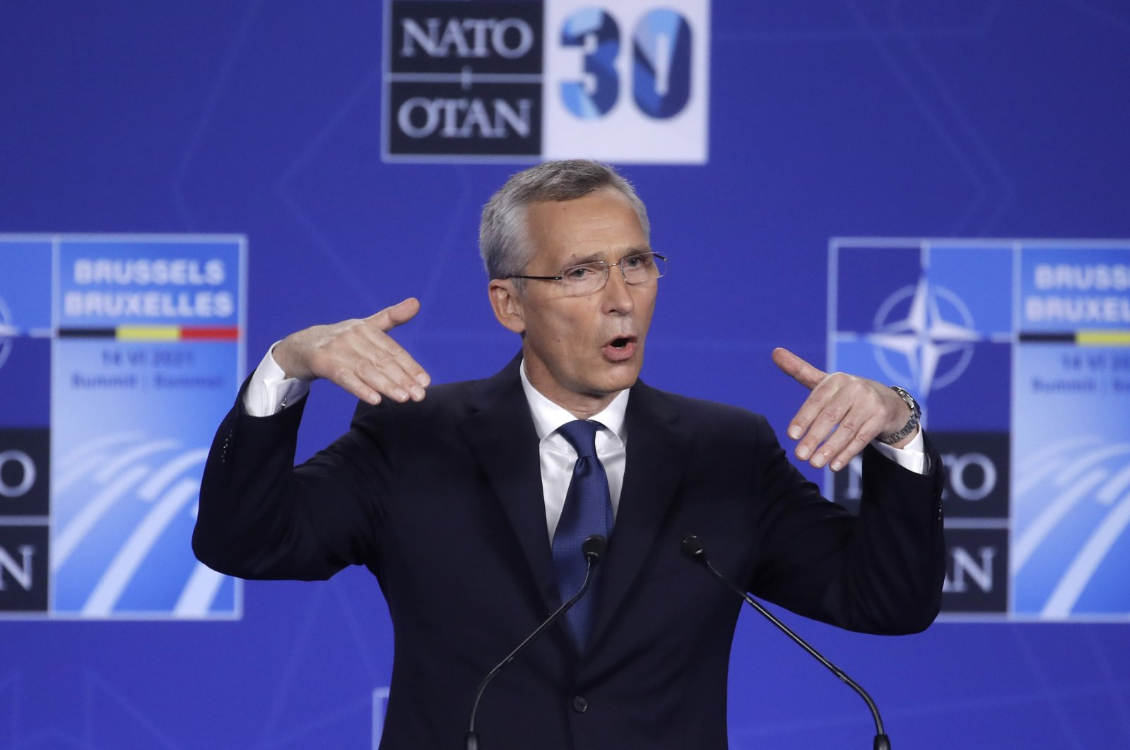 NATO Secretary-General Jens Stoltenberg speaks during a media conference at the NATO summit in Brussels, Monday, June 14, 2021. (Olivier Hoslet, Pool via AP)