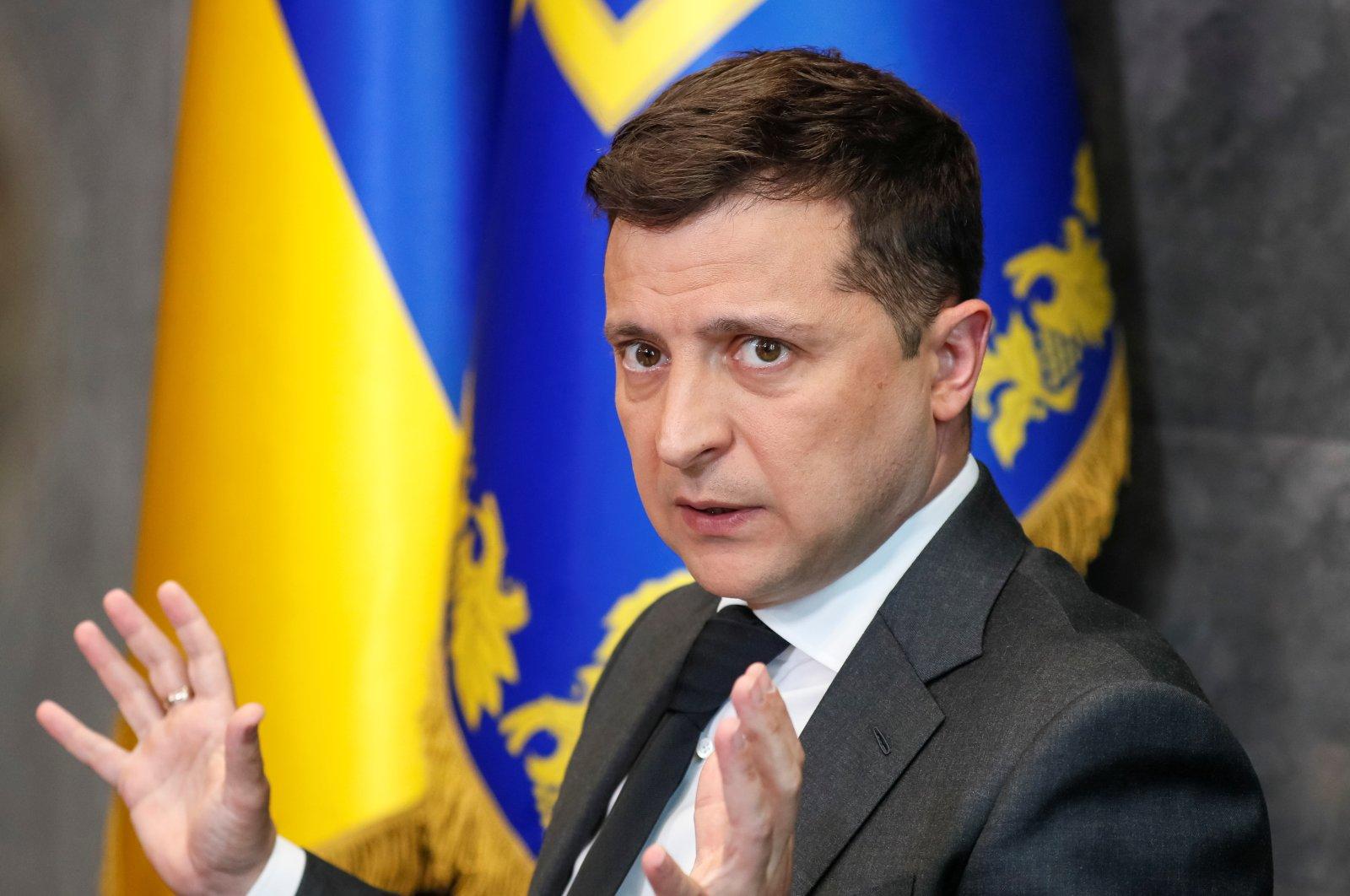 Ukrainian President Volodymyr Zelenskyy gestures during an interview in Kyiv, Ukraine June 14, 2021. (Reuters Photo)