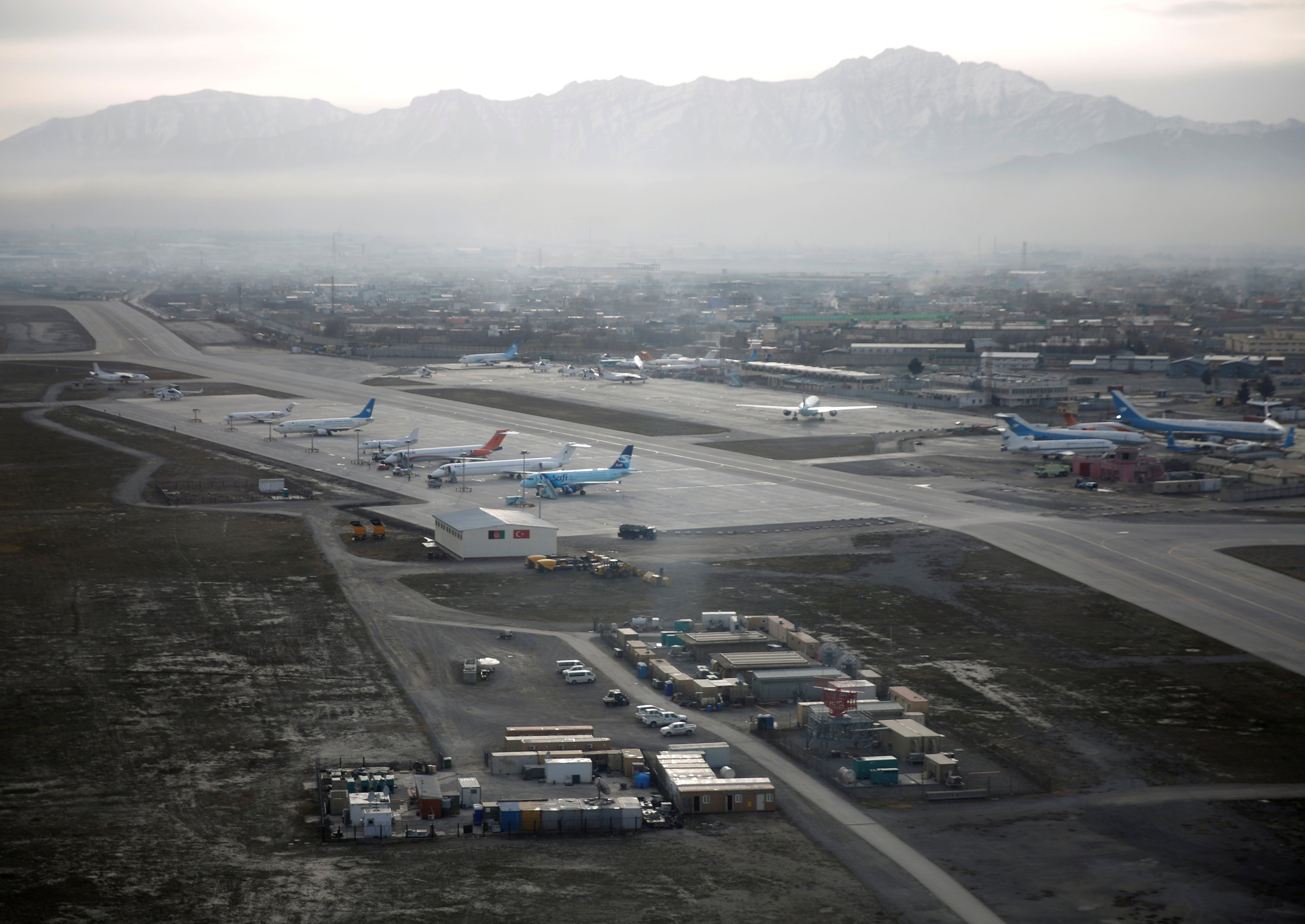 An aerial view of the Hamid Karzai International Airport in Kabul, previously known as Kabul International Airport, in Afghanistan, Feb. 11, 2016. (Reuters Photo)