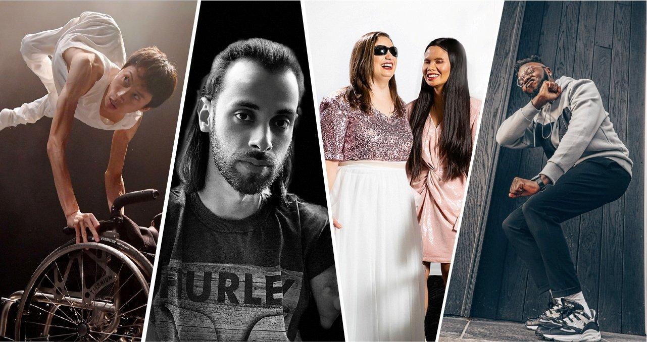 A combination of photos show Kenta Kambara (L),Johnatha Bastos (C-L),the Shalva Band members (C-R) and Chris Fonseca. (True Colors Festival via Reuters)