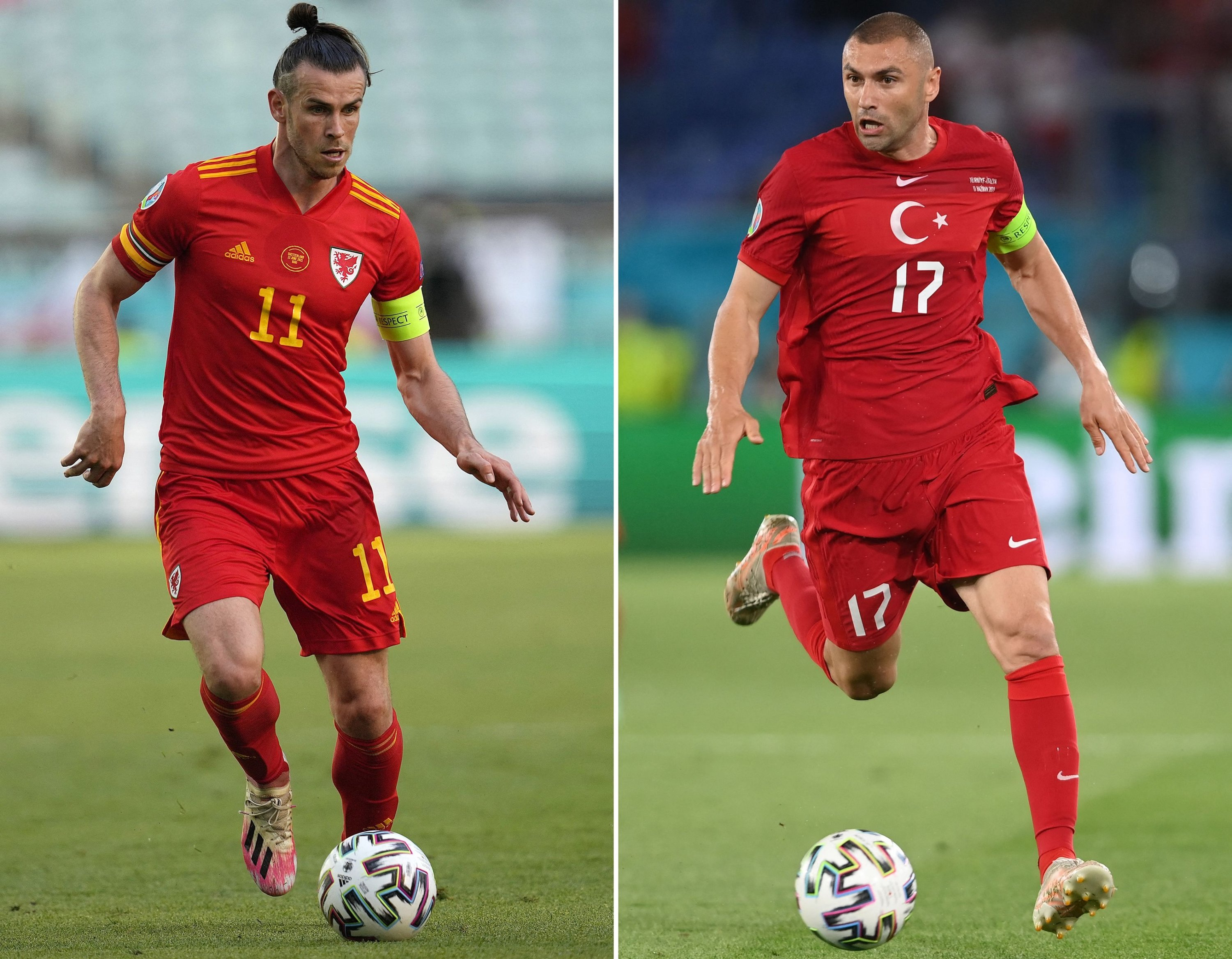This combination of file pictures created on June 14, 2021, shows Wales forward Gareth Bale (L) and Turkey's forward Burak Yilmaz. (AFP Photo)