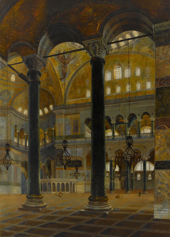 'Hagia Sophia,' Şevket Dağ, oil on canvas, 250 by 180 centimeters. (Courtesy of SSM)