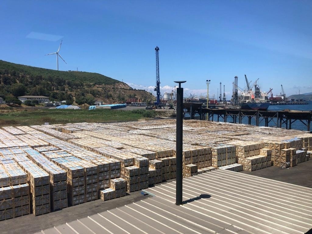 Wooden boxes are seen at a port in the western province of Izmir, Turkey, in this updated file photo. (DENMERDER via AA)