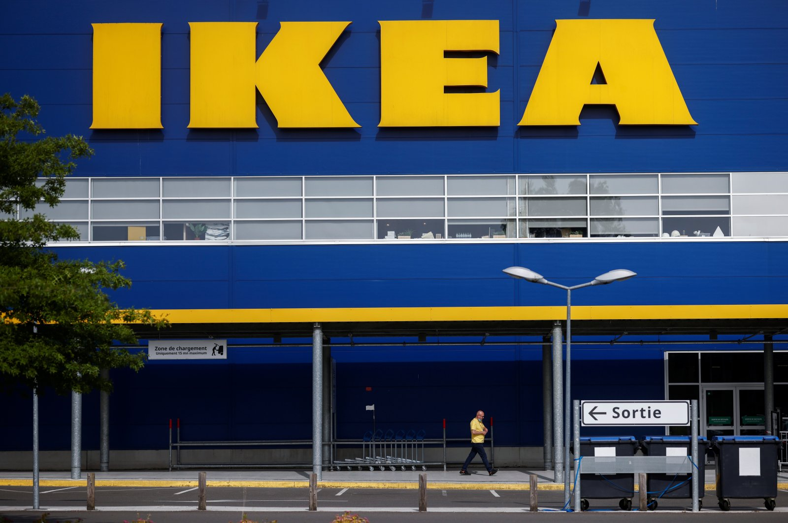 The company's logo is seen outside an IKEA Group store in Pace near Rennes, France, June 15, 2021. (Reuters Photo)