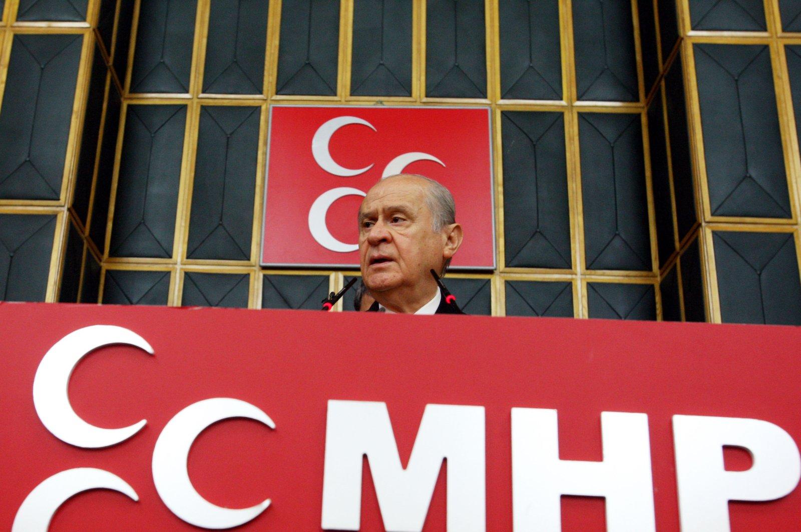 MHP Chairperson Devlet Bahçeli speaks at his party's parliamentary group meeting in Ankara, Turkey, June 15, 2021. (Sabah Photo)