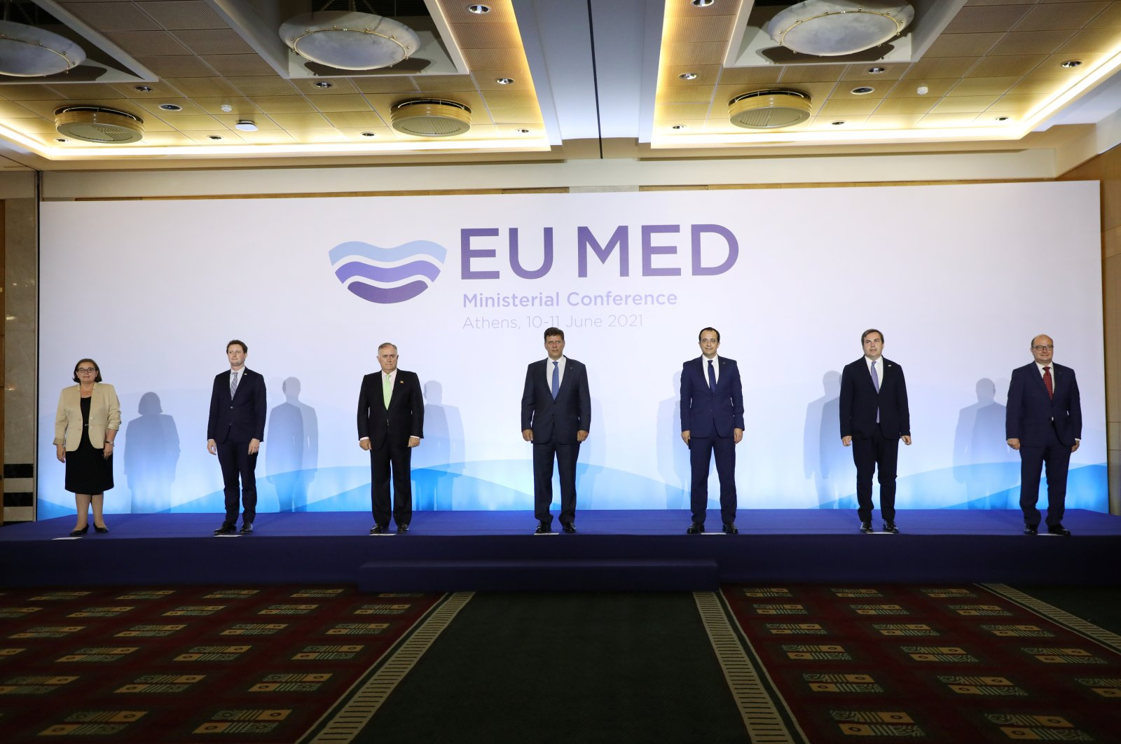 Officials pose for a family photo during an EU MED (MED-7) Ministerial Conference meeting, in Athens, Greece, June 11, 2021. (REUTERS Photo)