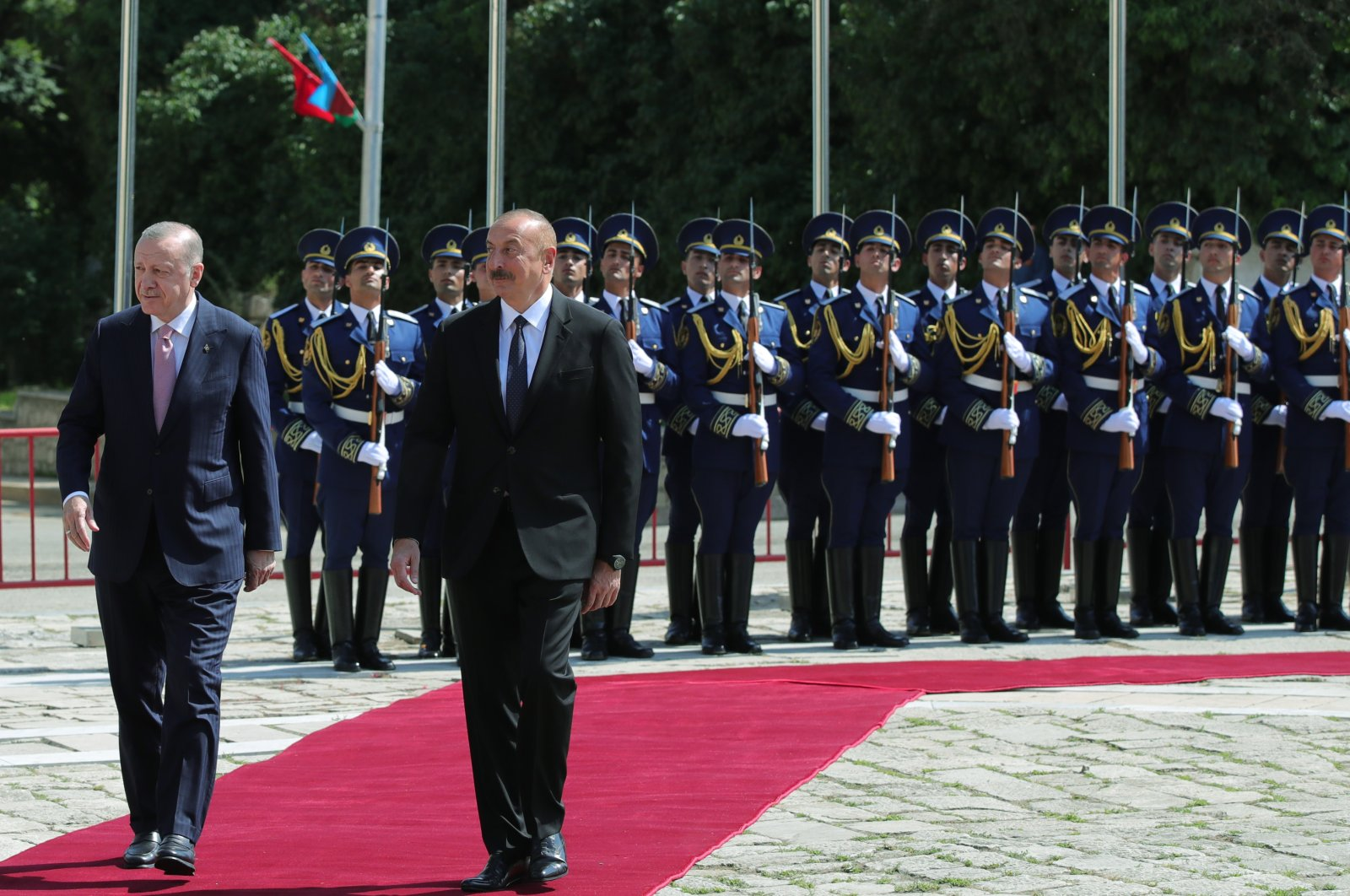 President Recep Tayyip Erdoğan was welcomed by Azerbaijan's Ilham Aliyev in Shusha, Azerbaijan, June 15, 2021 (AA Photo)