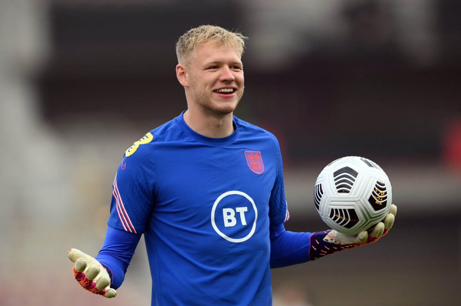 England's Aaron Ramsdale reacts during the warm up before the international friendly between England and Austria at the Riverside Stadium, Middlesbrough, U.K. June 2, 2021 (Reuters Photo)