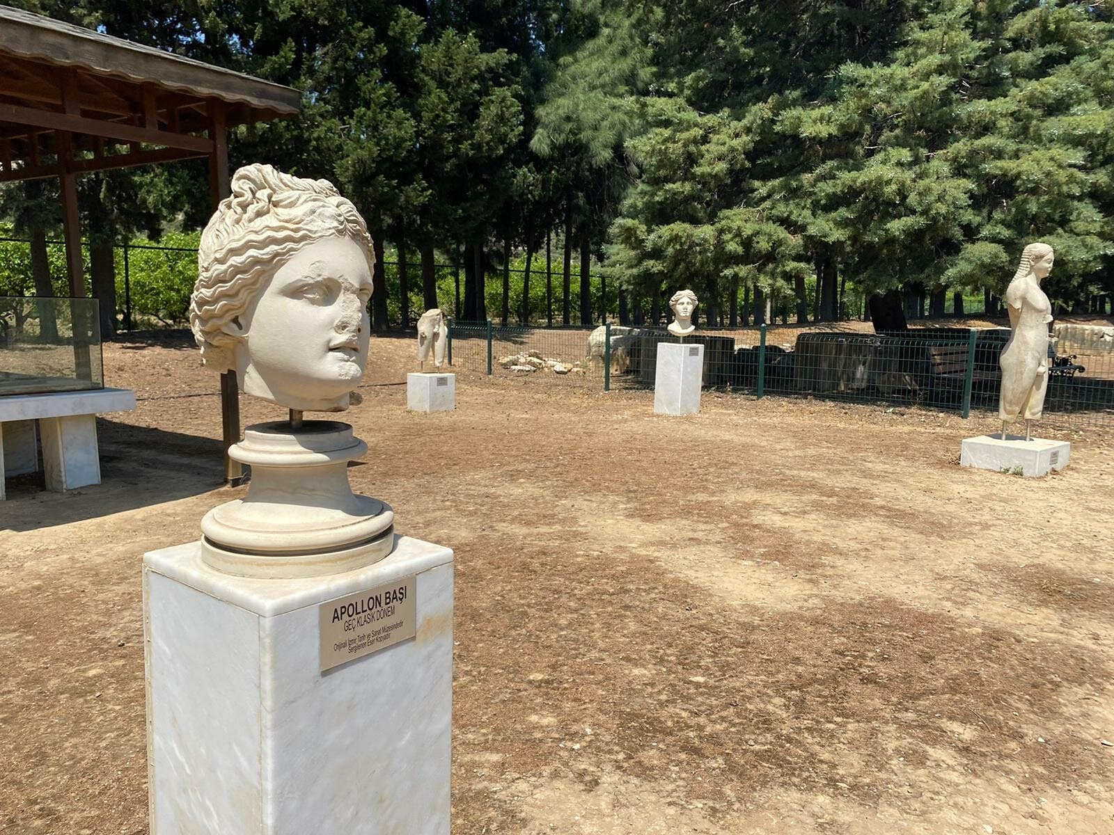 Replicas of the statues unearthed in Claros in the arkeopark of the site, Izmir, western Turkey, June 15, 2021. (DHA Photo)