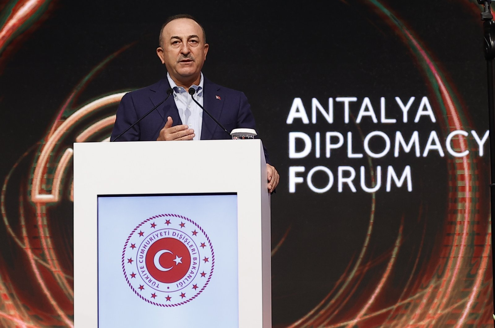 Turkish Foreign Minister Mevlüt Çavuşoğlu speaks at a news conference to inform press members about the upcoming Antalya Diplomacy Forum, Antalya, Turkey, June 16, 2021. (AA Photo)