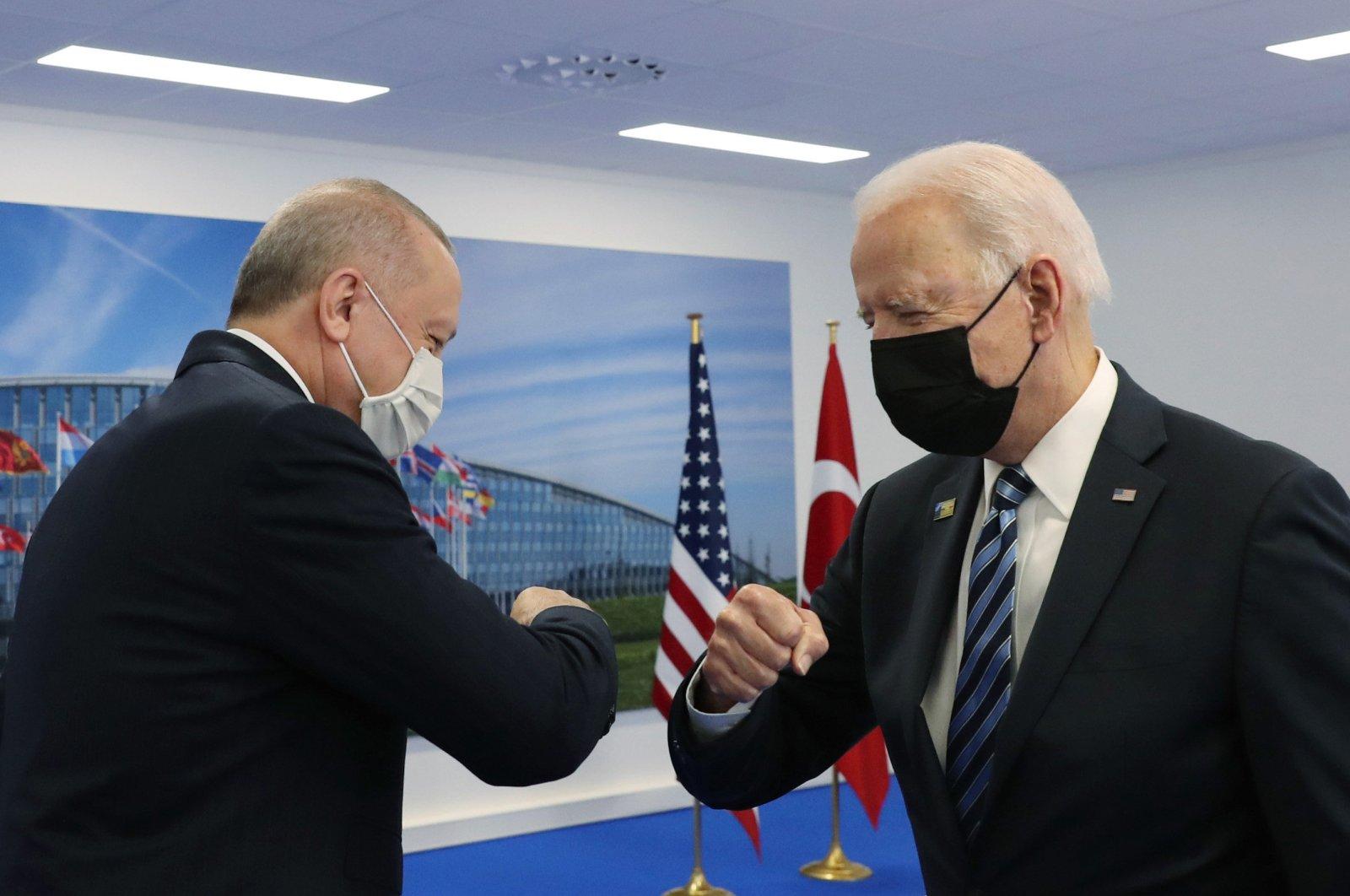 U.S. President Joe Biden (R) is seen with Turkish President Recep Tayyip Erdoğan prior to a plenary session of the recent NATO summit at NATO headquarters, Brussels, Belgium, June 14, 2021. (AA Photo)