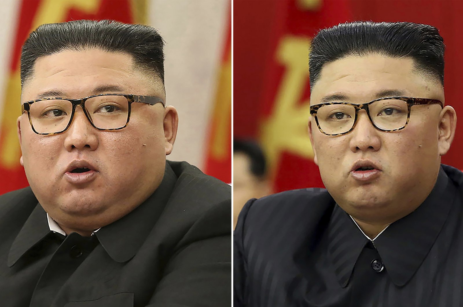 This combination of file photos provided by the North Korean government, shows North Korean leader Kim Jong Un at Workers' Party meetings in Pyongyang, North Korea, on Feb. 8, 2021, left, and June 15, 2021. (Korean Central News Agency/Korea News Service via AP)