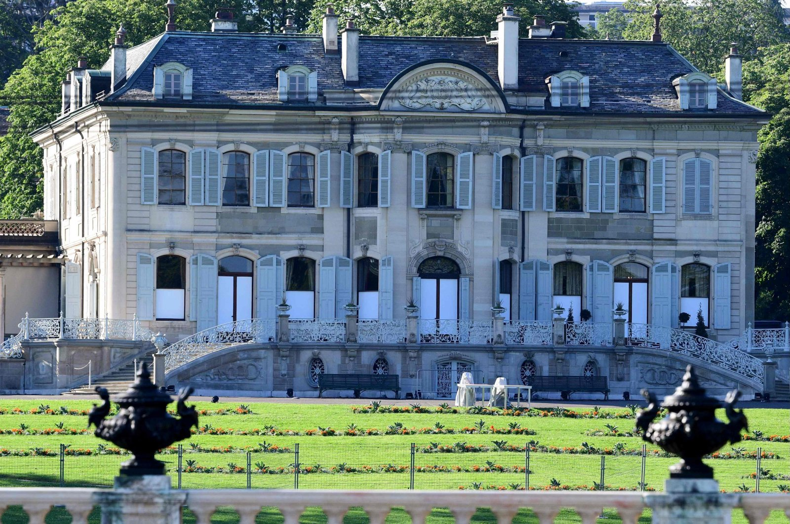 """The """"Villa La Grange"""" is seen on June 16, 2021, in Geneva ahead of the summit between U.S. President Joe Biden and Russian President Vladimir Putin, which will take place in the plush 18th-century lakeside villa steeped in the Swiss city's history. (AFP Photo)"""