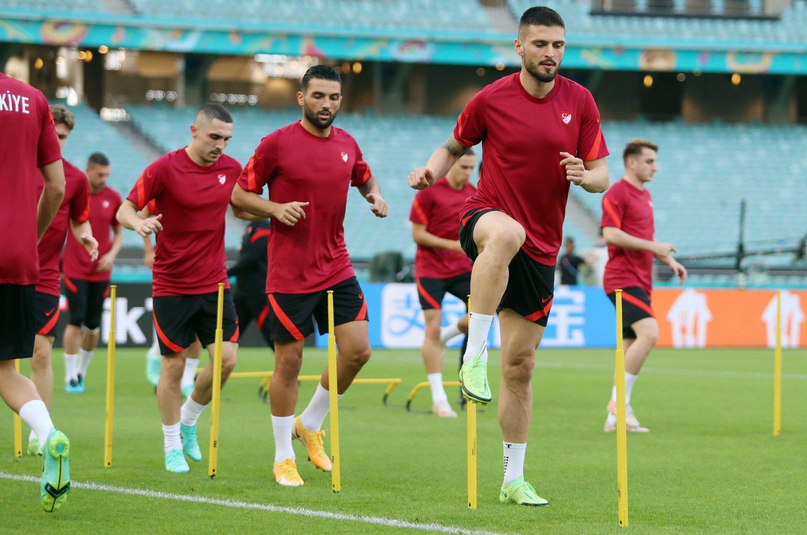 Turkish national team players train ahead of their EURO 2020 Group A match against Wales, Baku, Azerbaijan, June 16, 2021. (DHA Photo)
