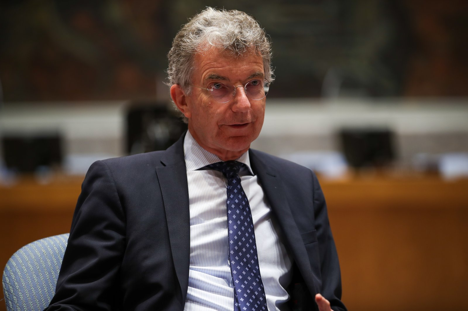 German U.N. envoy Christoph Heusgen speaks during an interview with Anadolu Agency (AA) at the Security Council, June 16, 2021. (AA Photo)