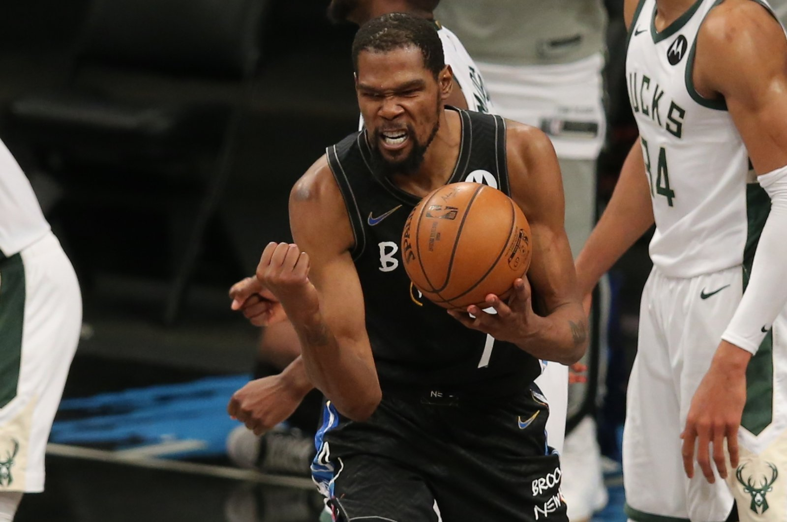 Brooklyn Nets power forward Kevin Durant reacts during Game 5 of the second-round NBA Playoffs against the Milwaukee Bucks at Barclays Center, Brooklyn, New York, U.S., June 16, 2021.