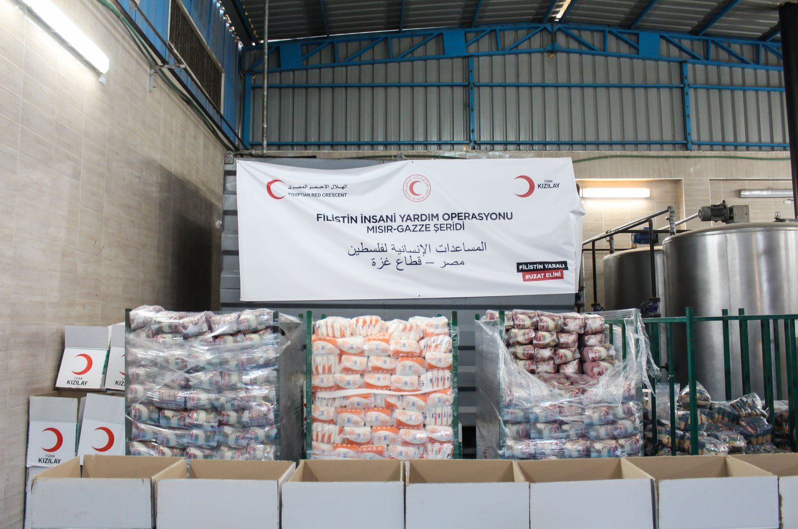 Aid packages prepared by the Turkish Red Crescent (Kızılay) are seen in Cairo, Egypt, June 15, 2021. (AA Photo)