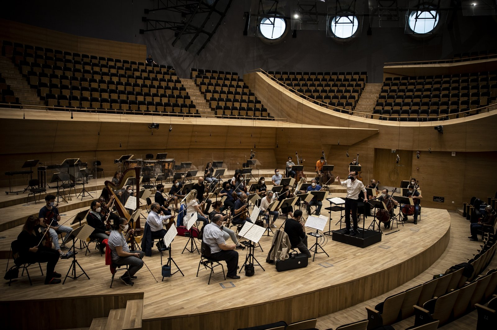 The Presidential Symphony Orchestra (CSO) performs at the CSO's new building in the capital, Ankara, Turkey, June 15, 2021. (AA Photo)