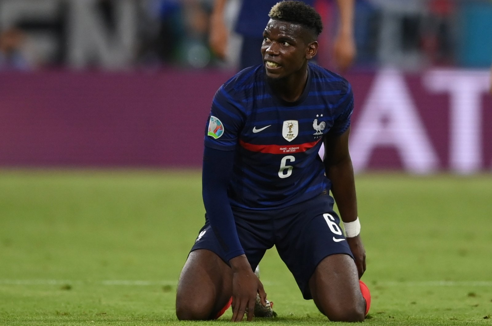France's Paul Pogba reacts during the UEFA EURO 2020 Group F match against Germany, Munich, Germany, June 15, 2021. (EPA Photo)