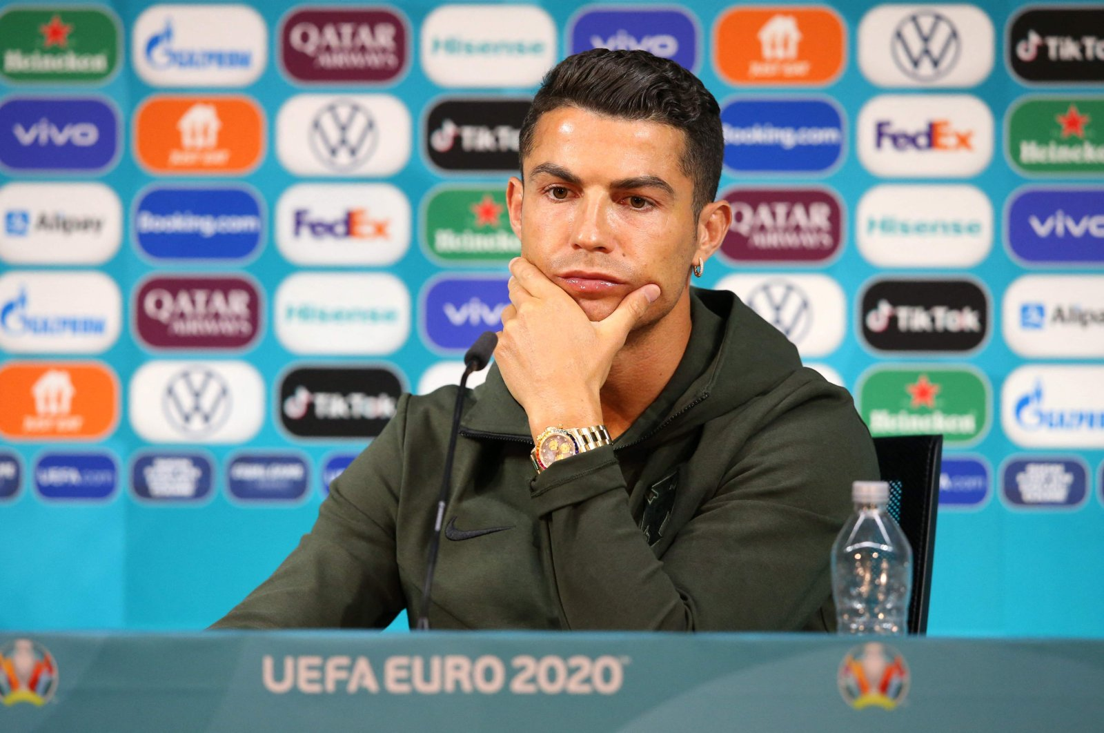 Portugal's forward Cristiano Ronaldo during a press conference at the Puskas Arena in Budapest, on the eve of the UEFA Euro 2020 football match between Hungary and Portugal, June 14, 2021. (UEFA via AFP)