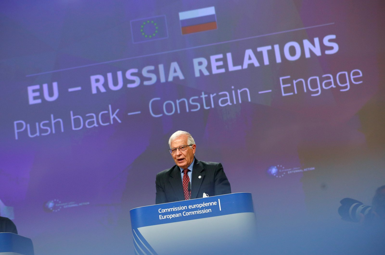 European High foreign policy chief Josep Borrell speaks during a news conference at the European Commission headquarters, in Brussels, Belgium, June 16, 2021. (REUTERS)