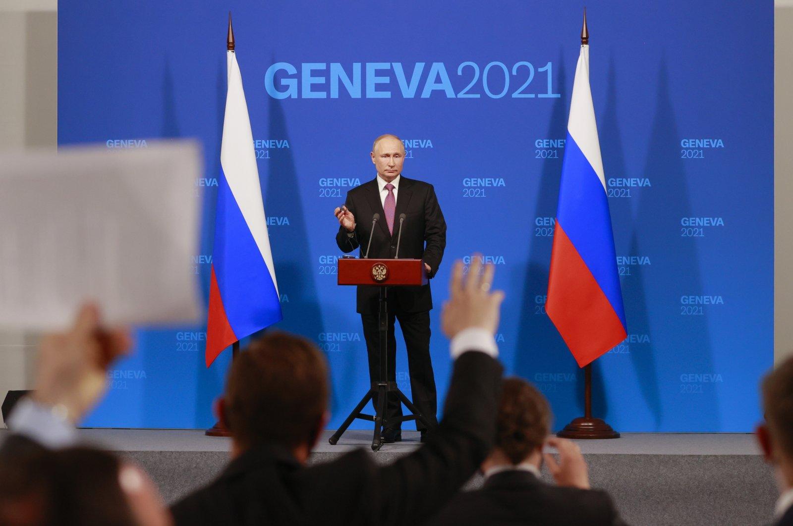 Russia's President Vladimir Putin addresses the media during a press conference after the U.S.-Russia summit with U.S. President Joe Biden at Villa La Grange in Geneva, Switzerland, June 16, 2021. (AP Photo)