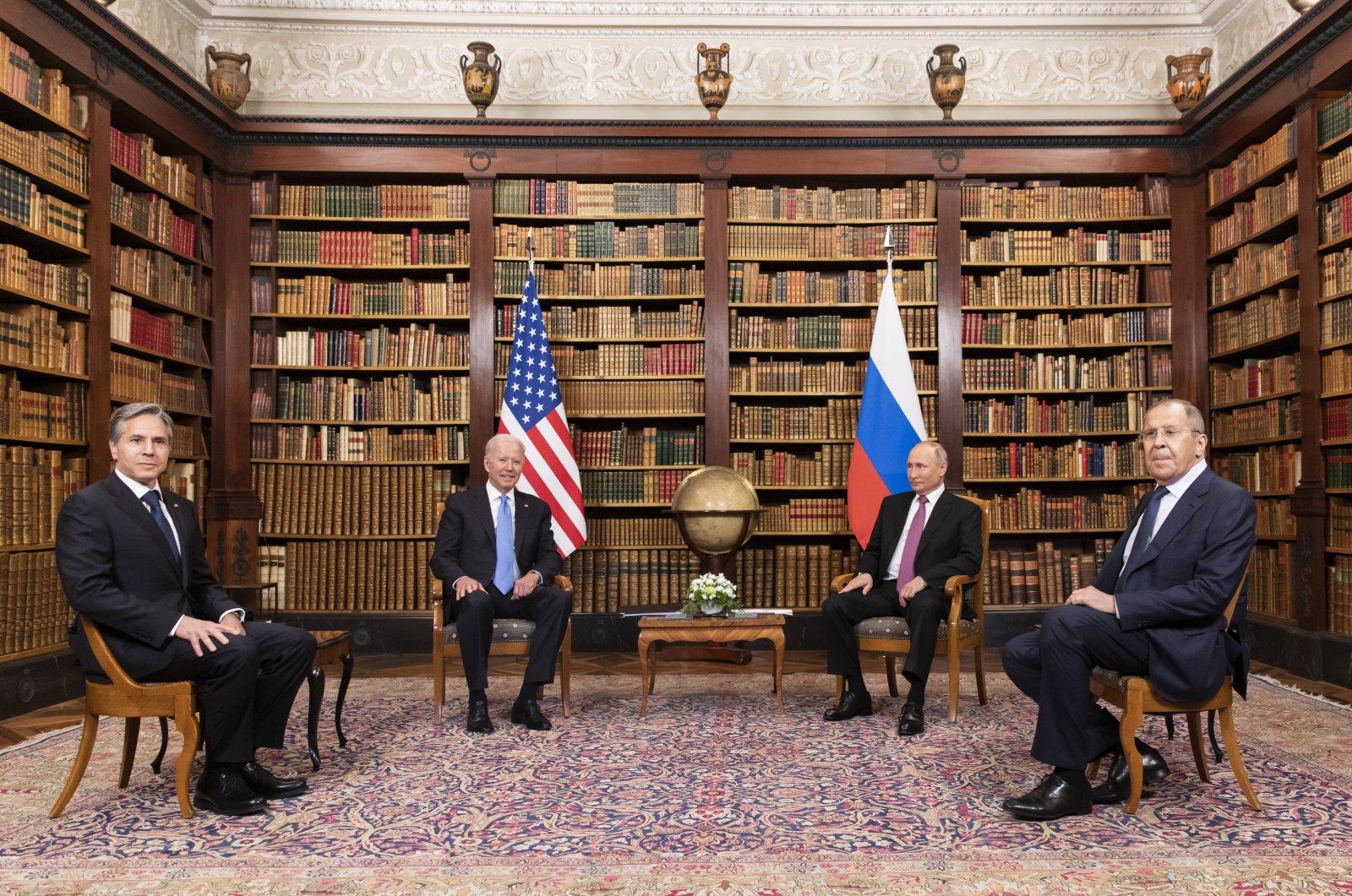 U.S. President Joe Biden (2-L), U.S. Secretary of State Antony Blinken (L), Russian President Vladimir Putin (2-R) and Russian Foreign Minister Sergey Lavrov (R) during their meeting at the U.S.-Russia summit at the Villa La Grange, in Geneva, Switzerland, June 16, 2021. (EPA Photo)